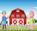 A male and a female muslim in front of a barnhouse illustration Royalty Free Stock Image