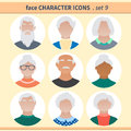 Male and female retired person faces avatars