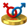 Male and female sign on gold podium Royalty Free Stock Photos
