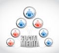 Male and female social media network sign illustration design over white Royalty Free Stock Images