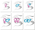 Male and female symbols in the hands Stock Photography