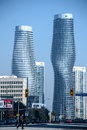 Male and female two buildings depicting the form in mississauga ontario canada Royalty Free Stock Images