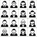 Male and female user vector icons set illustration Stock Images