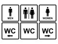 Male and female wc icon denoting toilet restroom facilities for both men women with black arrows pointer Royalty Free Stock Images