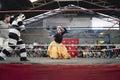 Male and female wrestlers in combat at the cholitas wrestling event october el alto la paz bolivia Stock Image