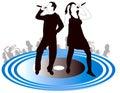 Male-Female zangers silhouetteren Royalty-vrije Stock Afbeeldingen
