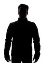 Male figure in silhouette wearing a vest isolated on white background Royalty Free Stock Images
