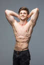 Male fitness model with sexy muscular body portrait handsome hot young man with fit athletic Royalty Free Stock Photo