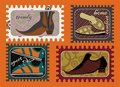 Male footwear fashion stamps Stock Photo