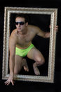 Male full body shot in swimwear young man s fashion Royalty Free Stock Images