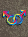 Male gay gender d symbols interlocking illustrati on grunge texture background illustration Royalty Free Stock Photos