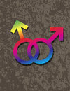 Male gay gender symbols interlocking illustration on grunge texture background Royalty Free Stock Photography