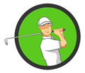 Male golf player playing making a perfect swing best for logo sports leisure concept Stock Photo