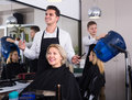 Male hairdresser at the work Royalty Free Stock Photo