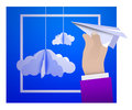 Male hand holding a paper plane against the sky with paper clouds in the style of origami