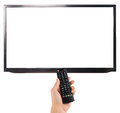 Male hand holding remote control to the TV screen isolated on white Royalty Free Stock Photo