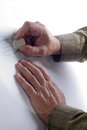 Male hands in the drawings photo doing a drawing on paper Stock Photography