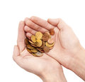Male hands holding coins isolated on white Royalty Free Stock Photo