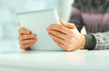 Male hands holding tablet computer closeup image of Royalty Free Stock Images