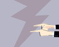 Male hands with pointing fingers directed outside. Vector illustration. Concept of arguing, accusation,business irresponsibility,