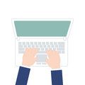 Male hands working on laptop, top view on white background, Vector illustration in modern flat design Royalty Free Stock Photo