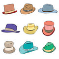Male hat icon set Royalty Free Stock Photos