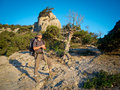 Male hiker trekking in the crimea mountains Royalty Free Stock Images
