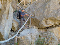Male hiker trekking in the crimea mountains Stock Photos