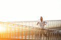 Male jogger exercising while listening to music with headphones Royalty Free Stock Photo