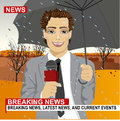 Male journalist working in rainy weather outdoors in park holding microphone and umbrella in live broadcasting Royalty Free Stock Photo