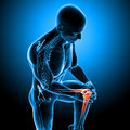 Male knee pain d rendered medical x ray illustration of transparent skeleton with and blue background Stock Image