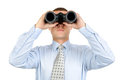 Male looking with binoculars Royalty Free Stock Images