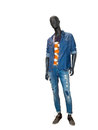 Male mannequin dressed in blue denim shirt and jeans. Royalty Free Stock Photo