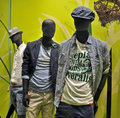 Male mannequin in a store window boutique for young people Royalty Free Stock Photo