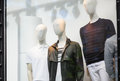Male mannequins in the store window Royalty Free Stock Photo