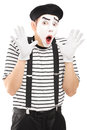 Male mime artist gesturing with his hands excitement isolated on white background Stock Images