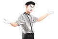Male mime dancer gesturing with hands isolated against white background Stock Images