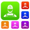 Male miner set collection Royalty Free Stock Photo