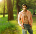 Male model outdoors Royalty Free Stock Photography