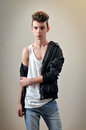 Male model young in studio Royalty Free Stock Photo