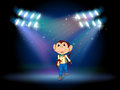 A male monkey at the stage with spotlights illustration of Royalty Free Stock Photo