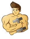 Male Muscular Bodybuilder Holding Dumbbell