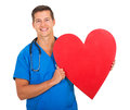Male nurse heart shape happy holding on white background Stock Photos