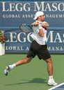 Male Professional Tennis Player Backhand Stock Image