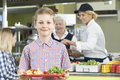 Male Pupil With Healthy Lunch In School Cafeteria Royalty Free Stock Photo