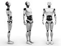 Male robot standing three different angles a view of it from white background Royalty Free Stock Photography