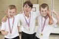 Male School Sports Team In Gym...