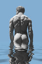 Male sculpture made of stone in reflective water surface Royalty Free Stock Images