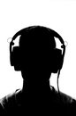 Male silhouette with headphones Royalty Free Stock Photo