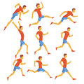 Male Sportsman Running The Track With Obstacles And Hurdles In Red Top And Blue Short In Racing Competition Set Of